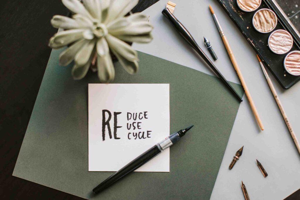 Kort med reduce, reuse, recycle